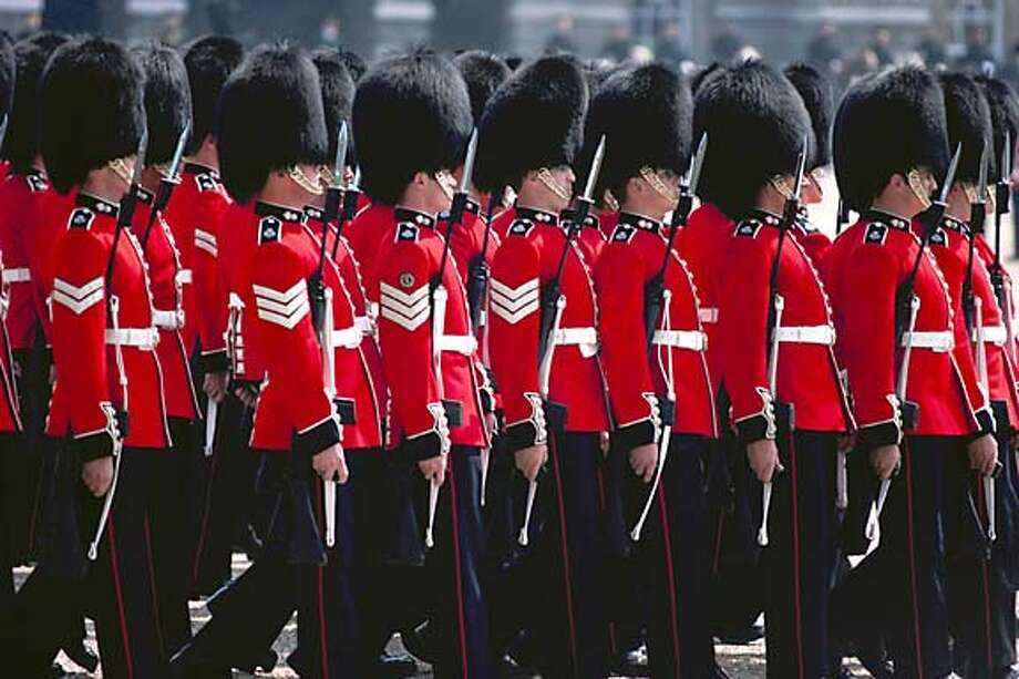 Pomp: The changing of the guard at Buckingham Palace exemplifies the British sense of pageantry.