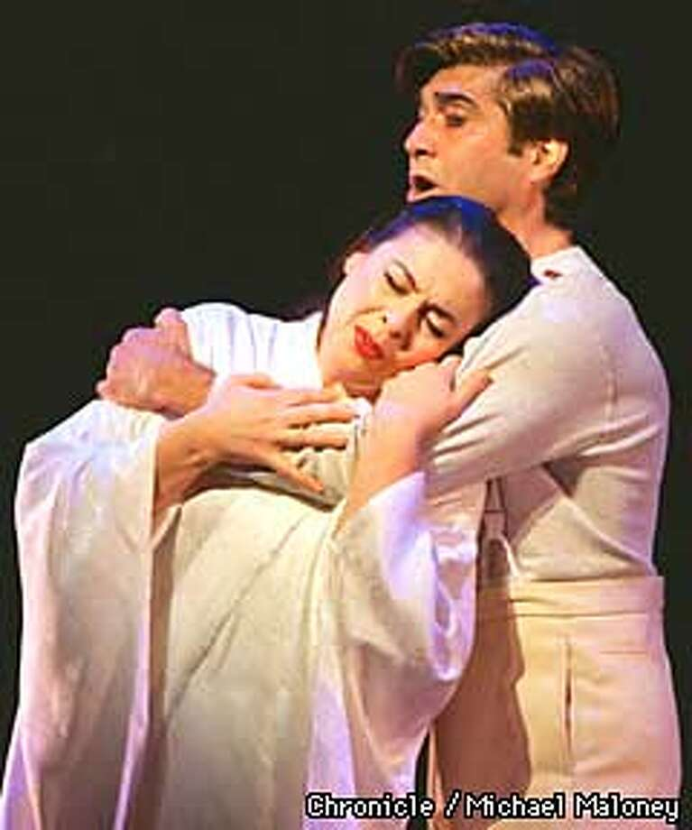 Lead cast members in Act 1 of Madama Butterfly Catherine Malfitano and Luis Lima.  Photo by Michael Maloney Photo: MICHAEL MALONEY