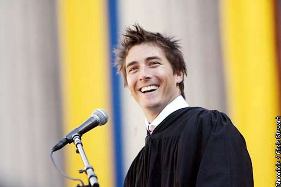 Winter Olympic gold medalist Jonny Mosesley beams at the audience as he gives the keynote speech at UC Berkeley's annual commencement exercises this year. BY CHRIS STEWART/THE CHRONICLE Photo: CHRIS STEWART