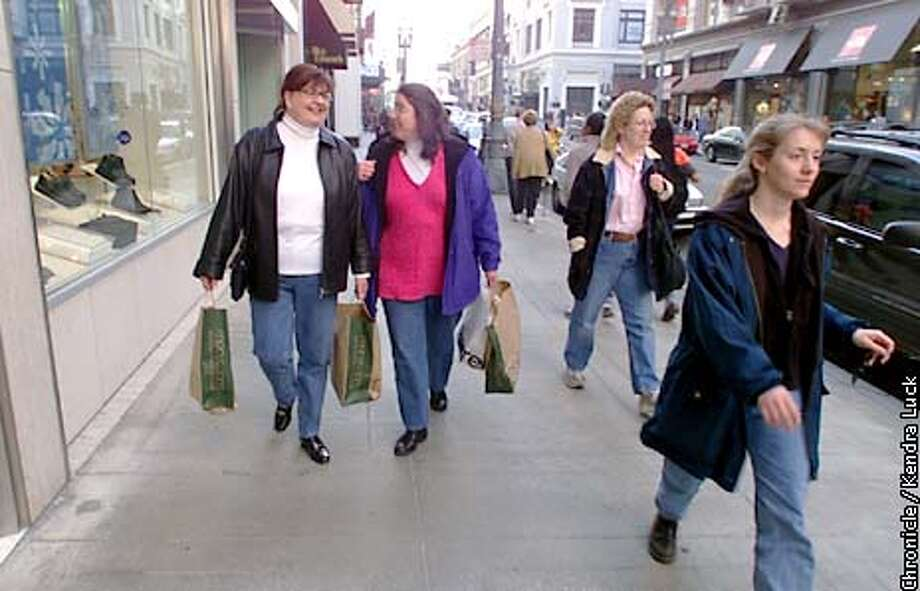Jean Miller of Kirkland Wa. and Marilyn Kaindl of Alameda took advantage of the after Christmas sales to do some shopping in San Francisco's Union Square. BY KENDRA LUCK/SAN FRANCISCO CHRONICLE Photo: KENDRA LUCK