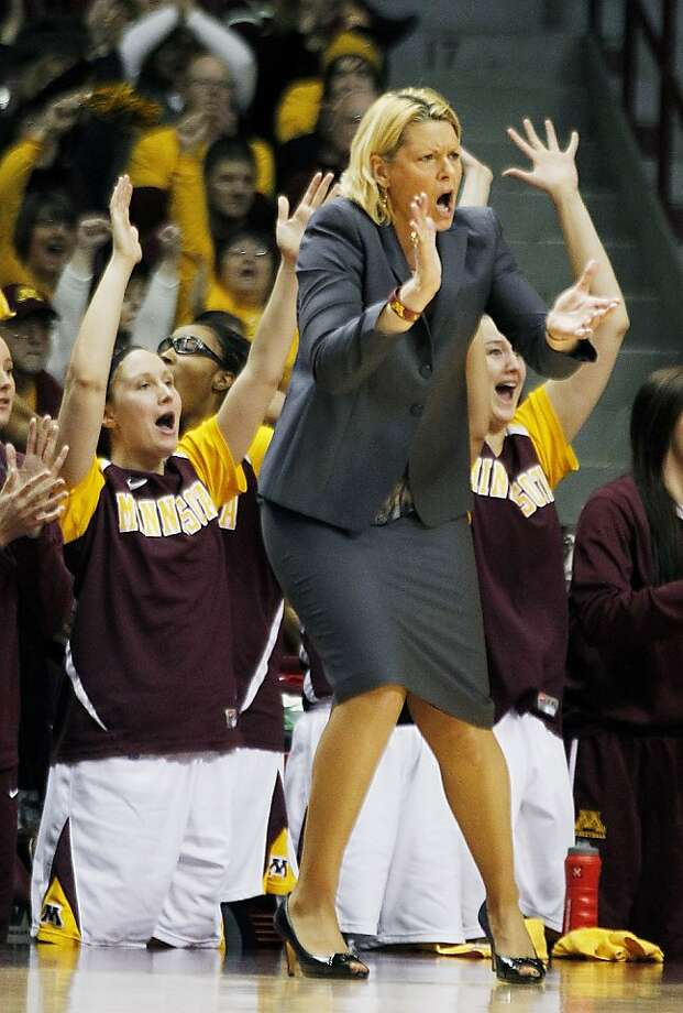 Minnesota coach Pam Borton and the bench celebrate a three point shot in the second half of an NCAA college basketball game against Ohio State in Minneapolis Sunday Jan. 29, 2012.(AP Photo/Andy King) Photo: Andy King, Associated Press