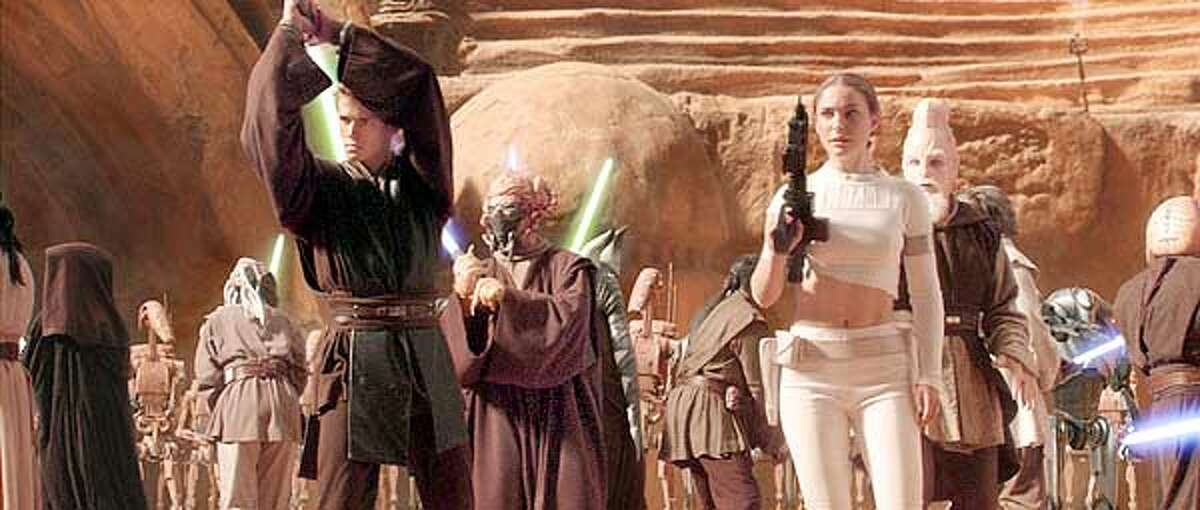 "Anakin Skywalker (Hayden Christensen) and Padme Amidala (Natalie Portman) in ""Star Wars Episode II: Attack of the Clones."""