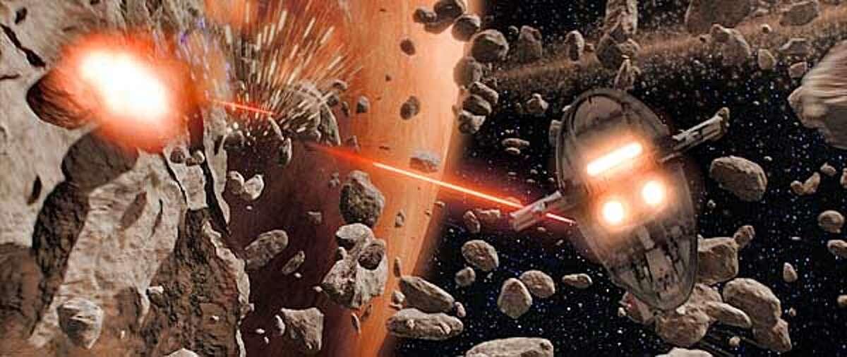 "Jango Fett's Slave I fires its laser cannons at Obi-Wan Kenobi's Jedi starfighter in ""Star Wars Episode II: Attack of the Clones."""