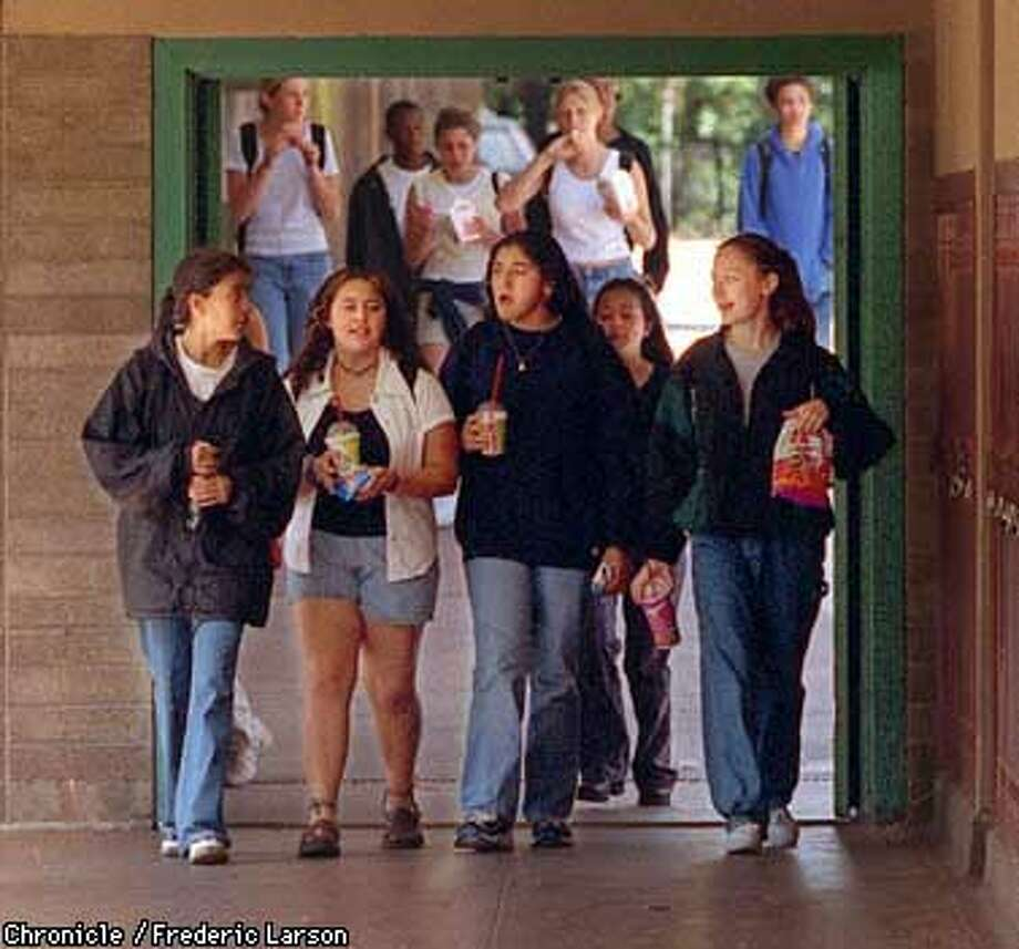 MENLOATHERTO1/13MAY97/MN/PZ/FRL: Menlo Atherton High School once divided by race are working to bring kids of different racial backgrounds out of their ethnic cliques so they'll mix together by choice. Chronicle photo by Frederic Larson.