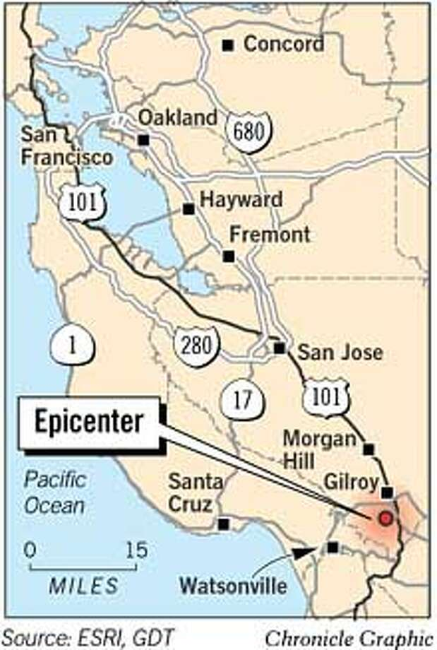 Gilroy Quake Epicenter. Chronicle Graphic