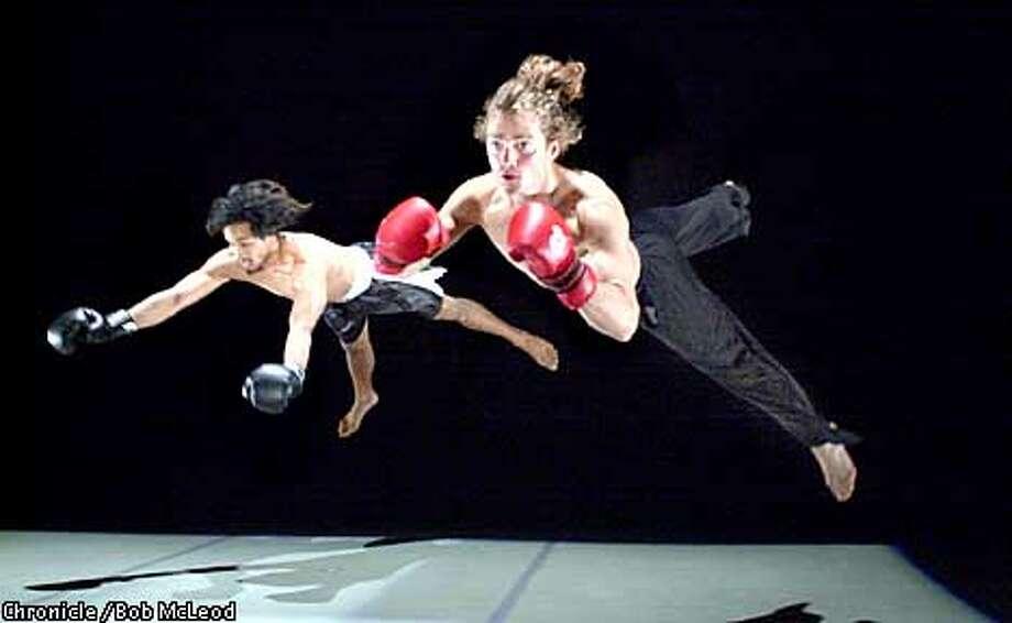 BOXING15a-C-09MAY02-DD-BM  Rocky vs. Barishnikov, a new ballet at the Dance Mission Theatre. Melelio Estrella (black trunks).Gabriel Forestieri (blonde), chronicle photo by Bob McLeod Photo: BOB MCLEOD