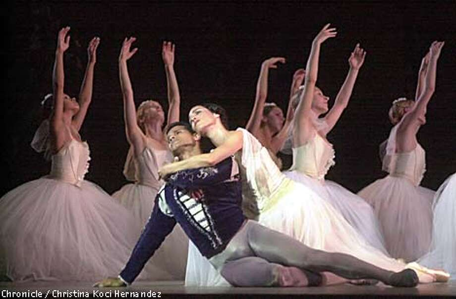 """Acts of courage: In those horrid days just after Sept. 11, Jose Manuel Carreno (center with Susan Jaffe) flew from Moscow to California for a single Berkeley performance of American Ballet Theatre's """"Giselle."""" Chronicle photo by Christina Koci Hernandez"""