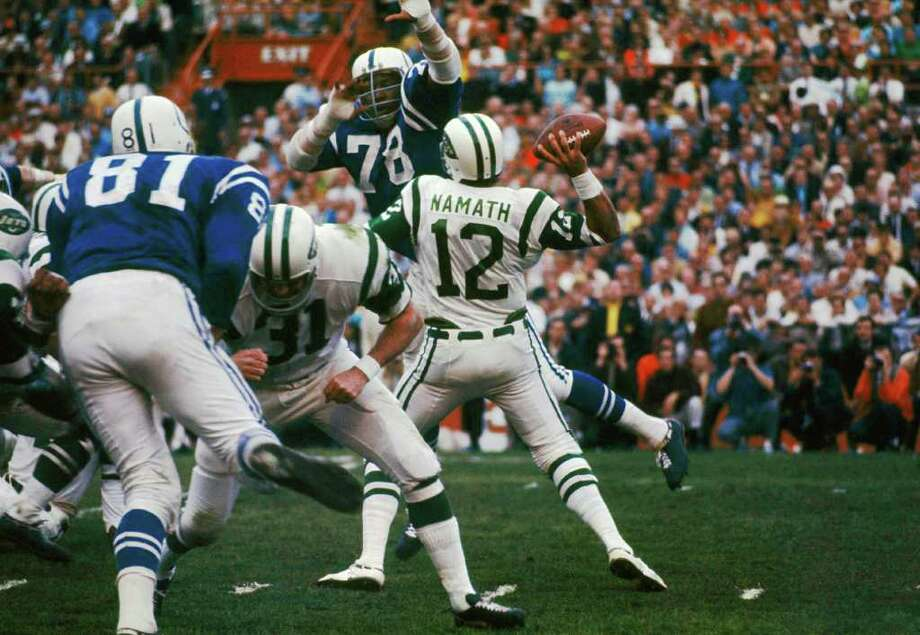 "2. Namath's guarantee – Super Bowl III: Three days before the game, Jets quarterback Joe Namath declared in a poolside interview that, despite being 18-point underdogs to the Colts, ""We're going to win Sunday. I guarantee it."" The Jets, won, of course, and Namath, leaving the field, raised his index finger to the sky, telling the world his team was No. 1. Photo: AP"