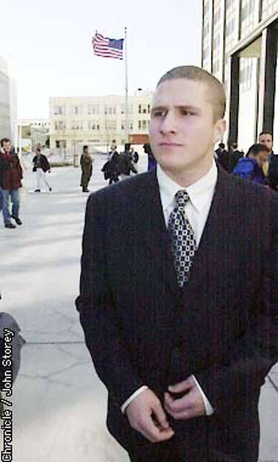 Ruling in the Napster case at the Federal Building. Shawn fanning walks out of the Federal Building after the ruling. Photo by John Storey. Photo: JOHN STOREY