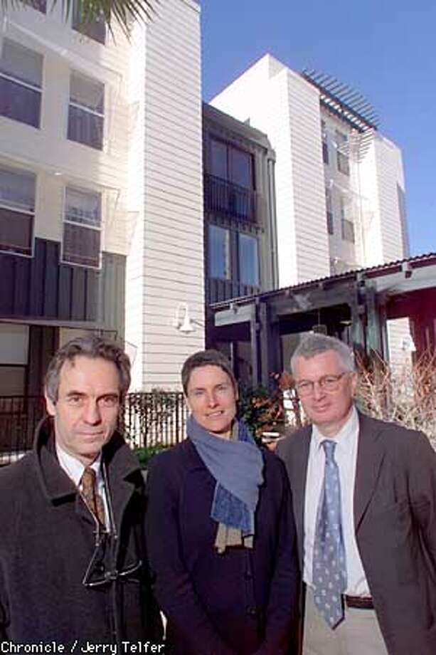 Architects Daniel Solomon (cq, left), Anne Torney, and John Ellis (right) in the courtyard of Alcantara Court, a senior residence in the Mission District which they designed to be affordable.  670 Valencia Street  CHRONICLE STAFF PHOTO BY JERRY TELFER Photo: JERRY TELFER