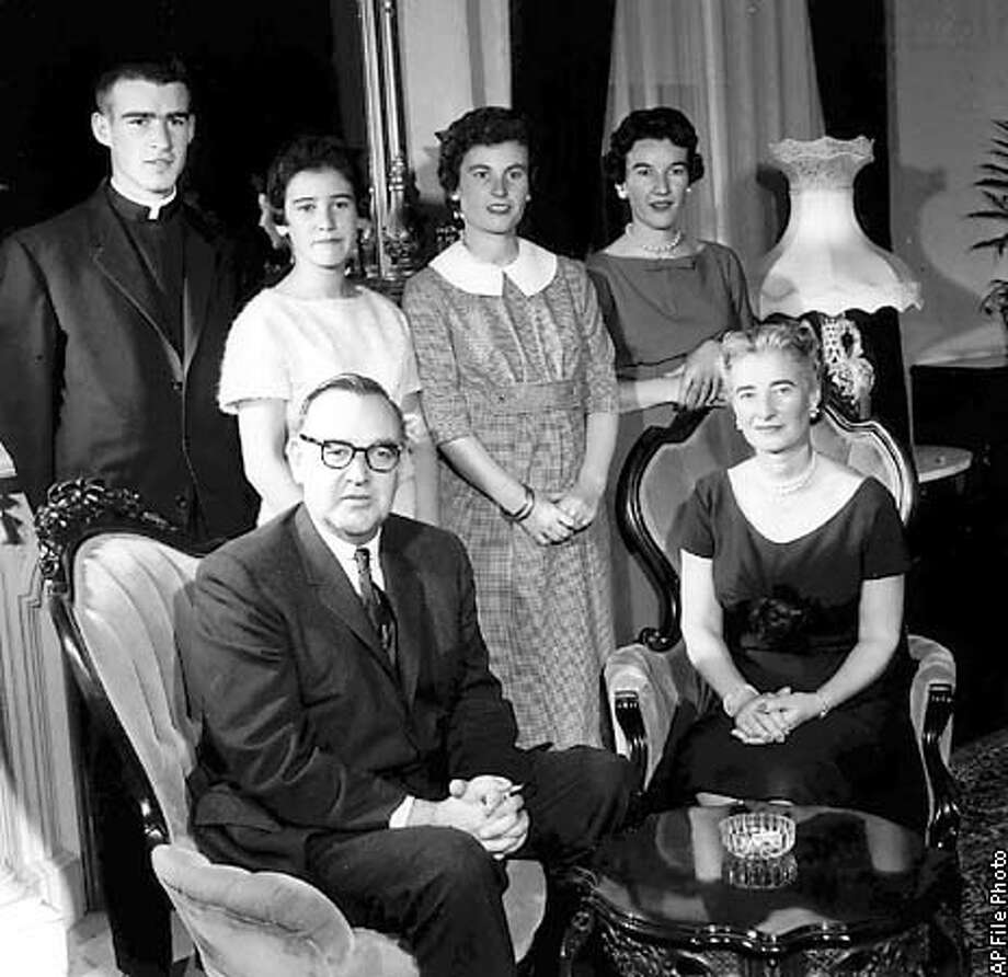 "FILE--This is a 1959 family photo of the Browns at the governor's mansion in Sacramento, Calif. Seated front left, then Gov. Edmund G. (Pat) Brown, his mother, Bernice, is at right. Standing, from left, are family members, Edmund G. (Jerry) Brown Jr., Kathleen Brown, Cynthia Brown Kelly and Barbara Brown Casey. Edmund ""Pat"" Brown died Friday, Feb. 16, 1996. He was 90. (AP Photo/files)"