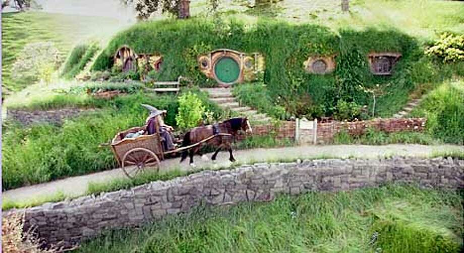 "A hobbit's house (they live comfortably underground) in the Middle-earth compellingly re-created in ""The Fellowship of the Ring"""