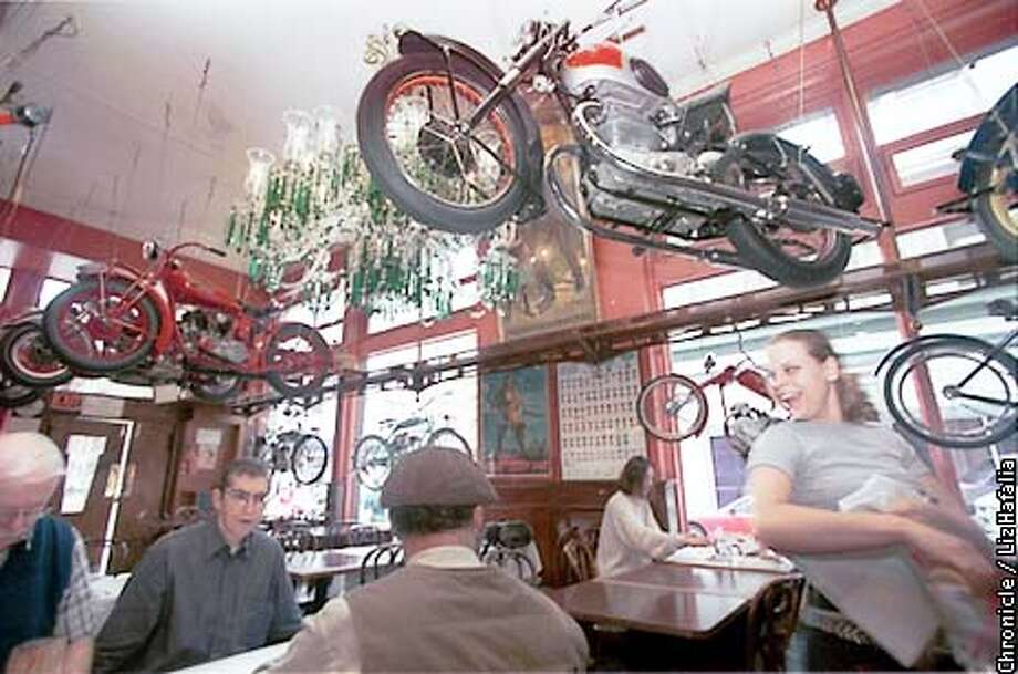 Eddie Rickenbacker's bar and grill on second street has 25 classic motorcycles from the early 20th century.  (PHOTOGRAPHED BY LIZ HAFALIA/THE SAN FRANCISCO CHRONICLE) Photo: LIZ HAFALIA