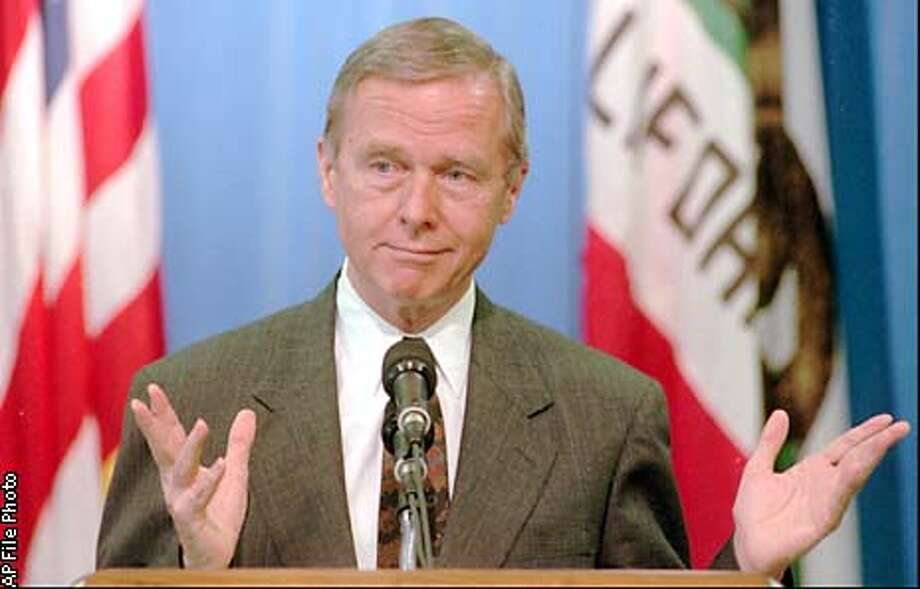 Gov. shruggs in response to a reporter's question concerning a Democratic welfare reform package he vetoed, during a Capitol news conference in Sacramento, Calif., Tuesday, July 8, 1997. (AP Photo/Rich Pedroncelli) ALSO RAN 01/03/1998 05/14/1999 Photo: RICH PEDRONCELLI
