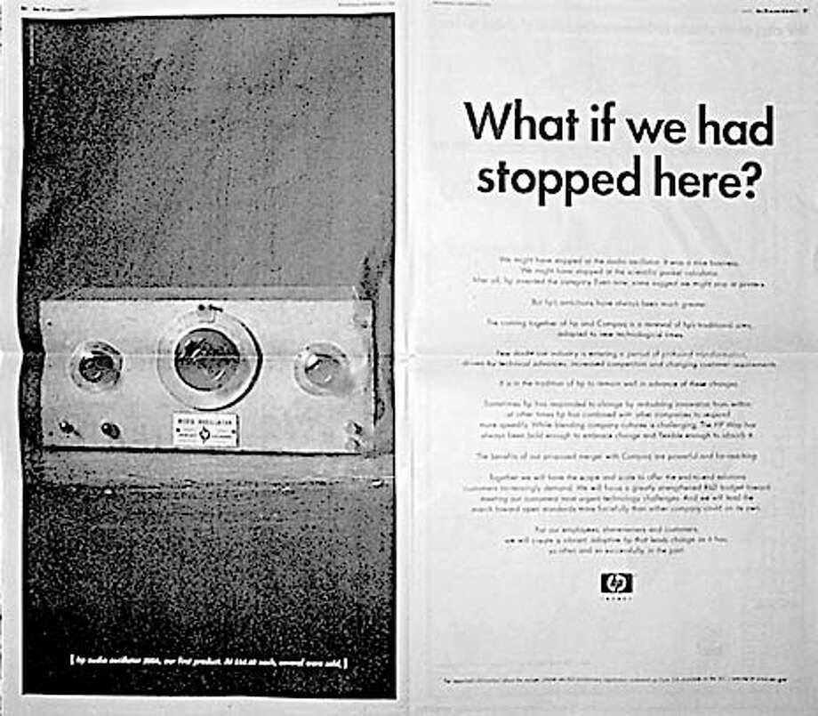 In a two-page newspaper ad, HP said buying Compaq would make it more competitive while upholding the HP Way.