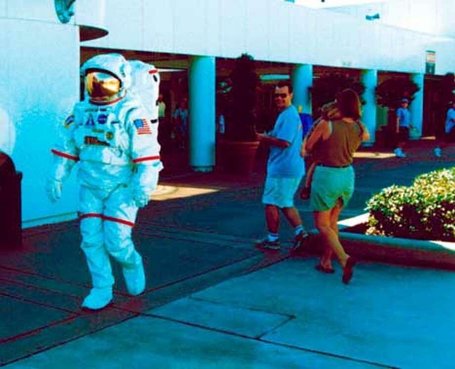 An actor in full spacewalk garb. Photo courtesy of NASA
