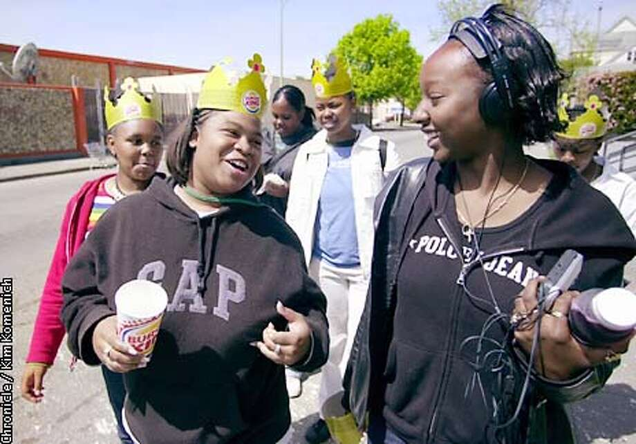 These girls do not have diabetes. They are returning to Fremont High after having lunch at a nearby Burger King, where they also obtained some crowns. Front, (L to R) Shakia Green (GAP shirt), 15; and Moniquie Holloway (Polo shirt), 15. Back row, L to R, Domonique (cq) Land, 15; Desiree Sellers, 14; Nikiyah Mellion, 15; and Talisha Logwood, 16.  CHRONICLE PHOTO BY KIM KOMENICH Photo: KIM KOMENICH