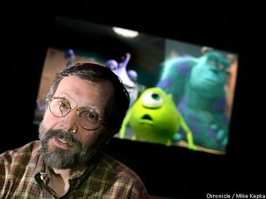"""Pixar President Ed Catmull and some of the """"Monsters, Inc."""" characters that were so profitable for the company. Chronicle photo by Mike Kepka"""