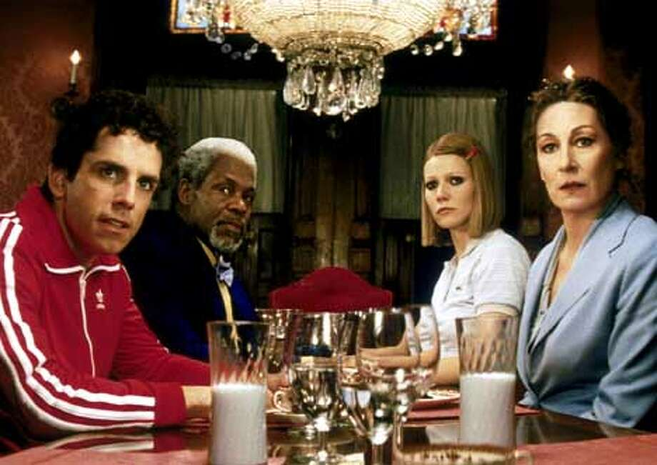 """""""The Royal Tenenbaums,"""" with (left to right) Ben Stiller, Danny Glover, Gwyneth Paltrow and Anjelica Huston, is an offbeat holiday release."""