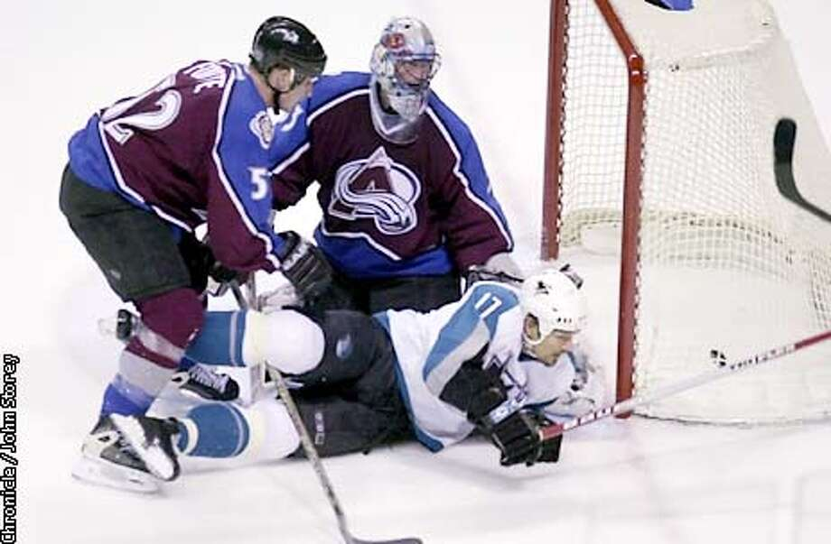 Scott Thornton in front of the Avalanche net as Patrick Marleau scored the fifth goal of the Sharks win over the Colorado Avalanche at Compaq Center in San Jose, Ca., on Monday, May, 6, 2002. (BY JOHN STOREY/THE SAN FRANCISCO CHRONICLE) Photo: JOHN STOREY