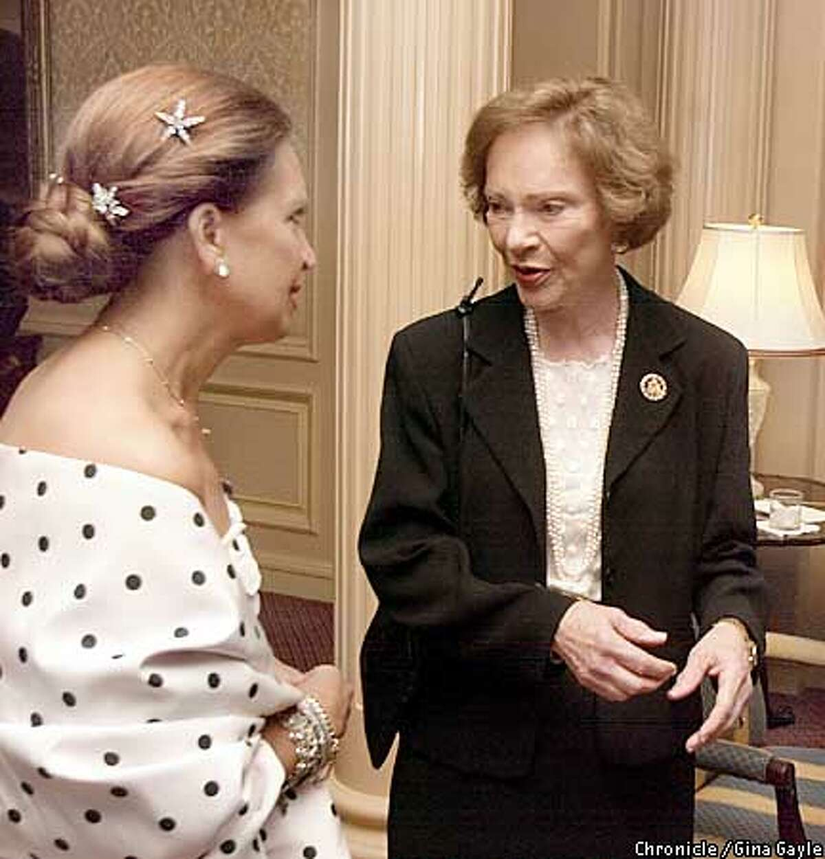 Author Danielle Steel greets former First Lady Rosalind Carter (spelling) at The Star Ball benefiting The Nick Traina Foundation at the Ritz Carlton. Photo by Gina Gayle/The SF Chronicle.