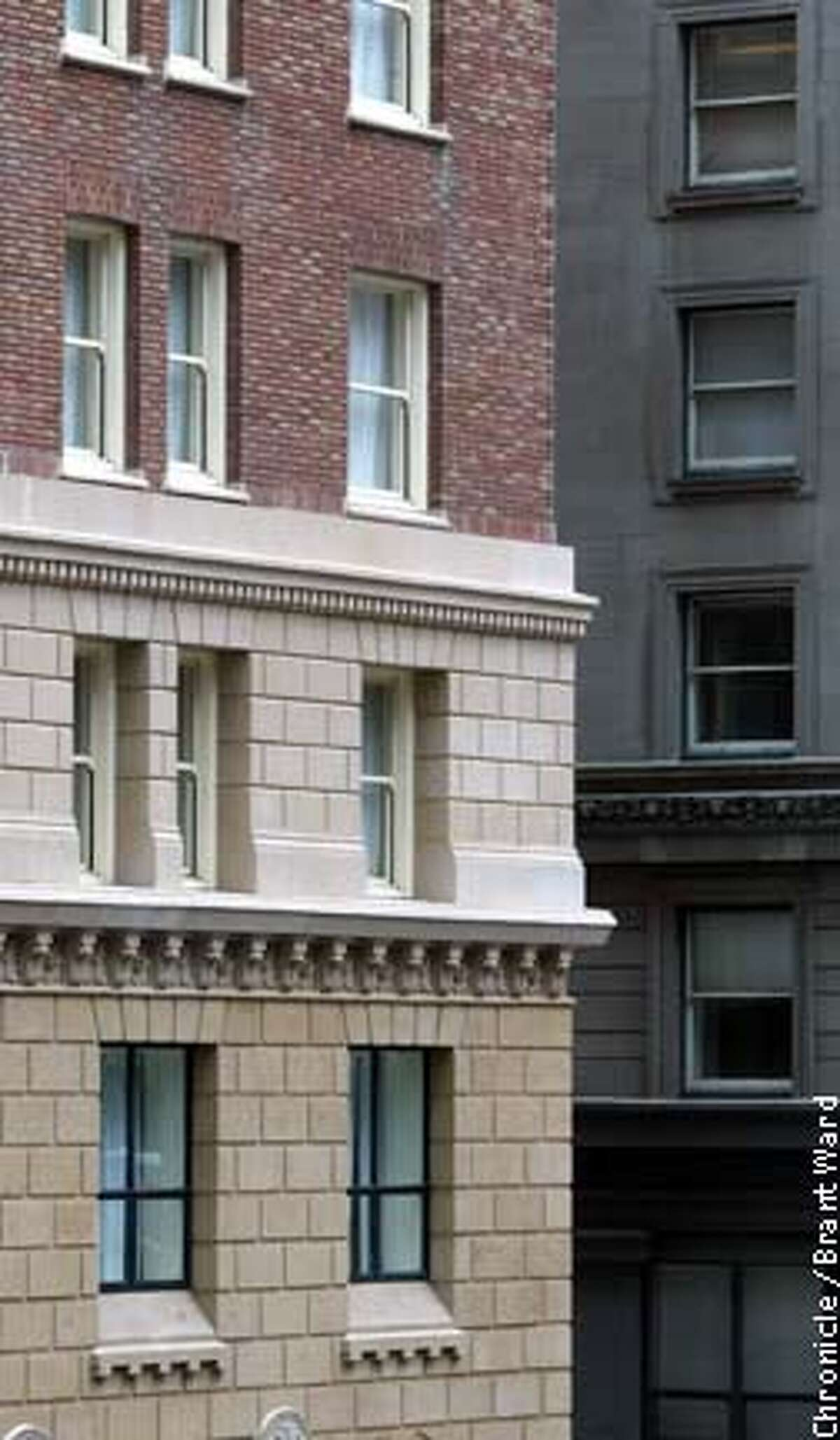 Three levels of masonry adorn the Omni Hotel at California and Montgomery streets. Chronicle photo by Brant Ward