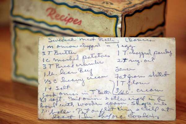 The hand written recipe for Eric Johnson's mother's Swedish Meat Balls is still kept in her original recipe box, in the kitchen of Nancy and Eric Johnson, Friday, Jan. 13, 2012. Photo Bob Owen/rowen@express-news.net