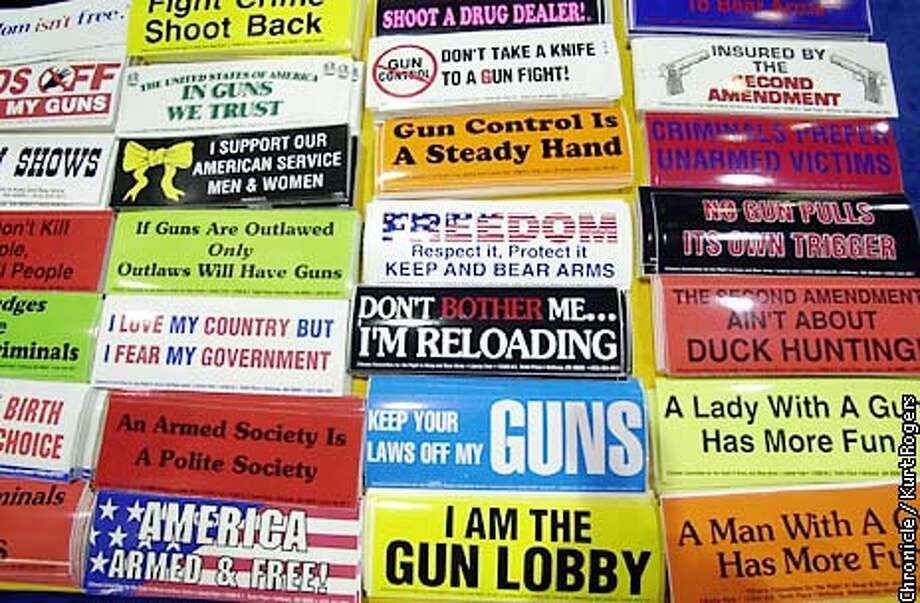 One of the booths where you can pick up some bumper stickers. 131st Annual National Rifle Association Meeting at the Reno Convention Center .Photo By Kurt Rogers Photo: Kurt Rogers