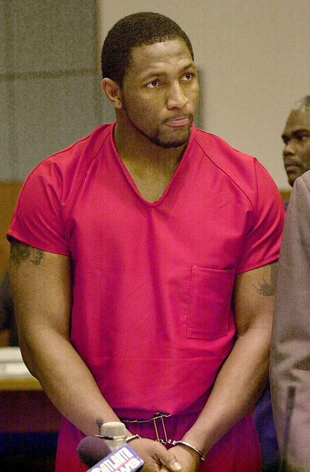 Baltimore Ravens linebacker Ray Lewis listens to the proceedings in Atlanta Municipal Court during his preliminary hearing Tuesday, Feb. 1, 2000, in Atlanta. Lewis, a Pro Bowl linebacker, is charged in the stabbing deaths of two people shortly after the Super Bowl. The hearing was postponed until Feb. 24. (AP Photo/Erik S. Lesser) Photo: Erik S. Lesser