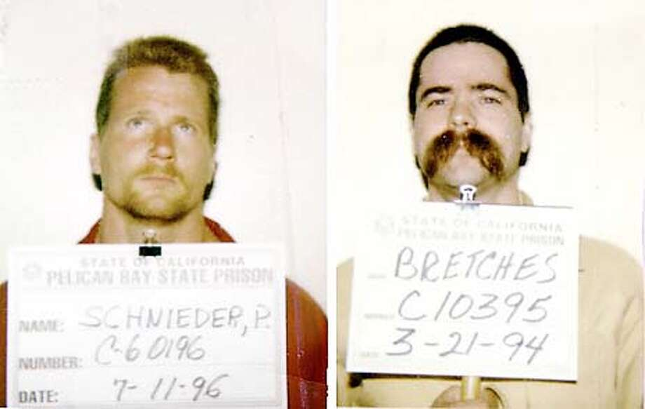 "Paul ""Cornfed"" Schneider, left, and Dale Bretches. Men owned the dogs that killed a Pacific Heights woman last week. Both men are members of Aryan Brotherhood and jailed at Pelican Bay. CDC photo. (HANDOUT PHOTO) Photo: HANDOUT"