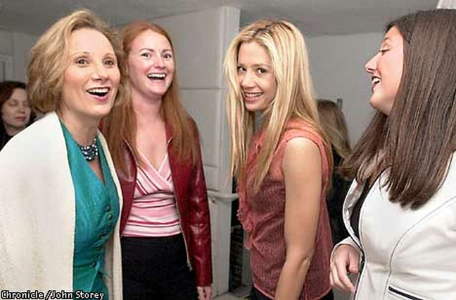 """INSIDER26-C-23APR02-DD-JRS-Actress Miro Sorvino at a party at the Cloud 9 motel for her new movie, """" The Triumph of Love"""". Left to Right: Roxanne Messina, Executive Director of the Film Festival; Erin Donnelly, event sponsor, Miro Sorvino, and Shannon Sansevero, Zoom Co-Chair. Chronicle Photo by John Storey. Photo: John Storey"""