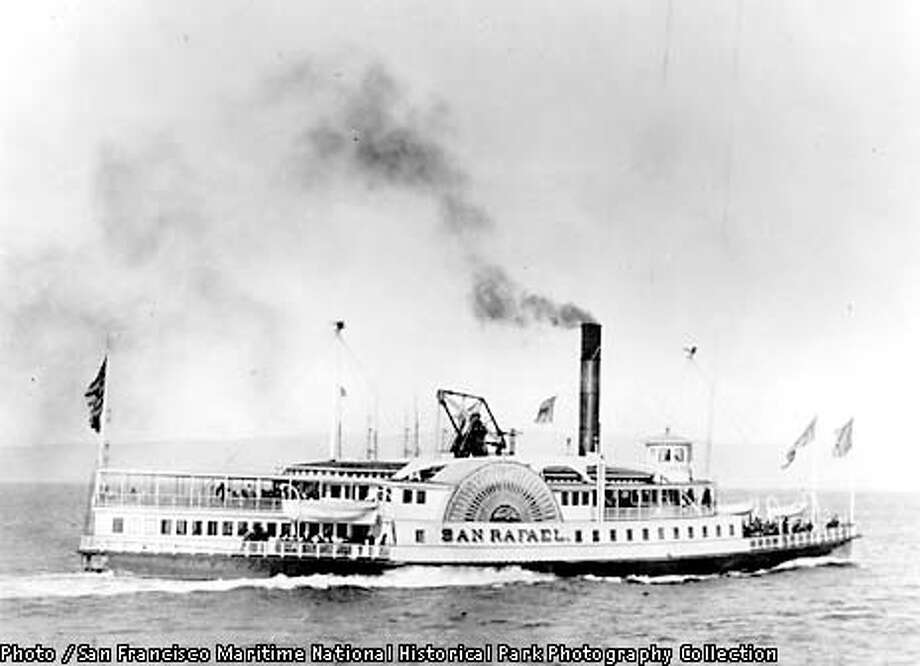Paddlewheel ferryboat san Rafael on San Francisco Bay.  Credit:San Francisco Maritime National Historical Park Photography Collection.