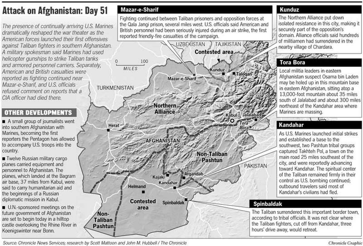 Attack on Afghanistan: Day 51. Chronicle Graphic