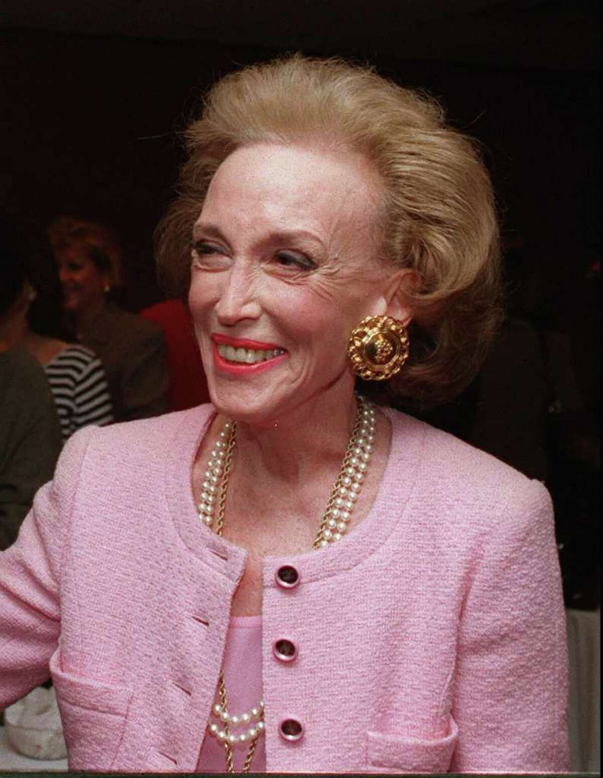 Helen Gurley Brown, who invented the concept of the have-it-all Cosmo girl, is shown in this March 1995 file photo. Brown, who spent more then three decades as editor-in-chief of Cosmopolitan Magazine, has given a $30 million gift to the Columbia University Graduate School of Journalism and Stanford University's School of Engineering in honor of her late husband, David Brown. (AP Photo/Marty Lederhandler, File)
