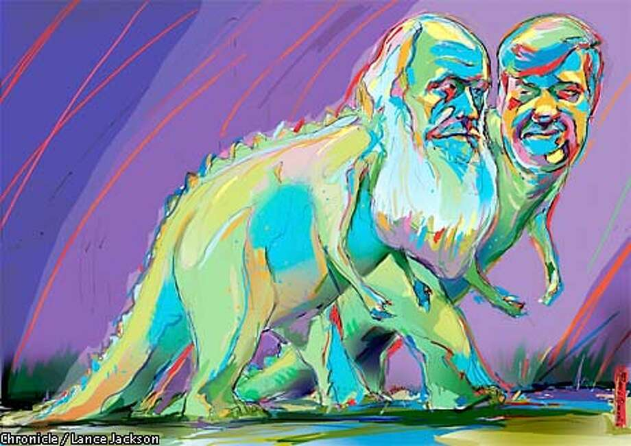 A Darwinian leap: Stephen Jay Gould proposes that catastrophes triggered mass changes in species. Chronicle illustration by Lance Jackson Photo: Lance Jackson