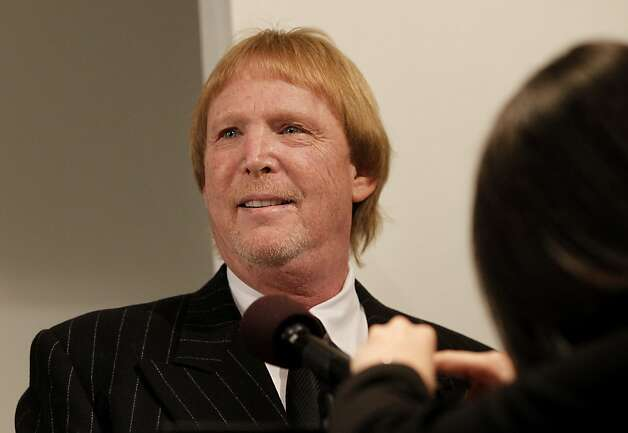 Raiders owner Mark Davis got his mike adjusted before announcing the new coach. The Oakland Raiders introduced their new head coach, Dennis Allen at their training facility in Alameda, Calif. Monday January 30, 2012. Photo: Brant Ward, The Chronicle