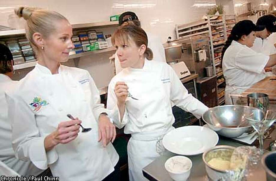 Roxanne Klein (left) taste tested a new dessert with chef Stephanie Valentine in the kitchen at Roxanne's in Larkspur which serves creative raw vegan cuisine.  PAUL CHINN/S.F. CHRONICLE Photo: PAUL CHINN