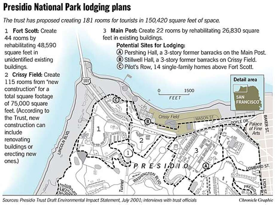 Presidio National Park Lodging Plans. Chronicle Graphic