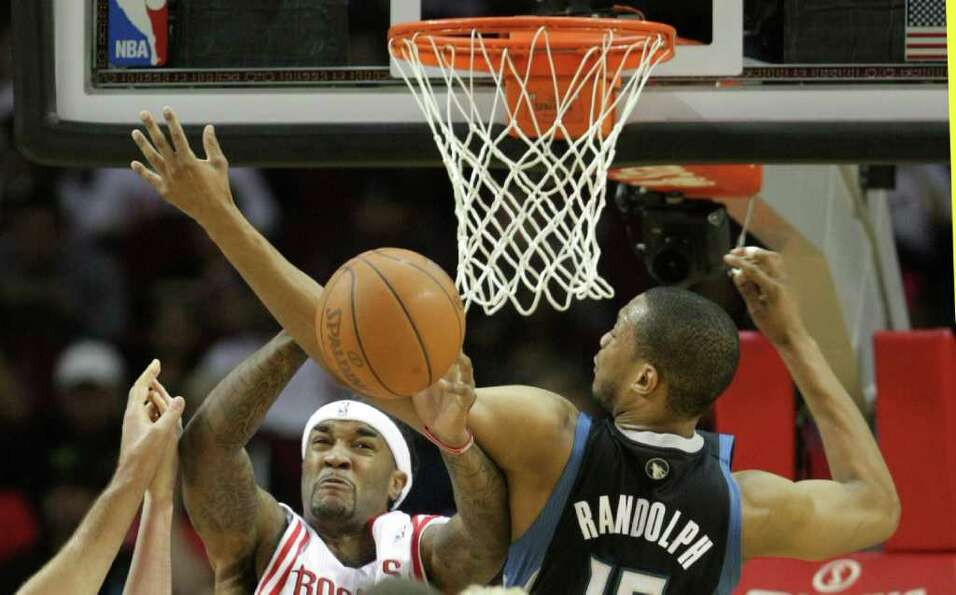 Houston Rockets center Jordan Hill (27) and Minnesota Timberwolves power forward Anthony Randolph (1