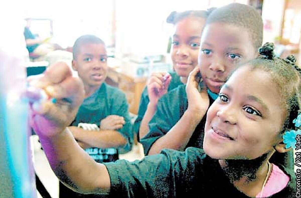 (RIGHT TO LEFT) Francina (CQ) Wilson, 6, Chris Brown, 6, Anika (CQ) Hines, 6, and Aquaylo (CQ) Wilson, 9, try out the interactive video Winky Dink and You, a 1970's TV series where children can interact by drawing with crayons on a plastic film layed over the TV set when The San Francisco Chronicle video critic tested the video on a group of kids with the boys and girls club on Treasure Island. SAN FRANCISCO CHRONICLE PHOTO BY KAT WADE