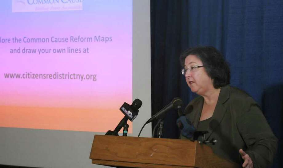 Susan Lerner with Common Cause/NY addresses those gathered for a press conference in the  LCA press room at the Legislative Office Building on Monday, Jan. 30, 2012 in Albany, NY.  Common Cause held the press event to voice their concerns over redistricting in the state. (Paul Buckowski / Times Union) Photo: Paul Buckowski