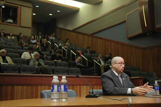 Senator Gustavo Rivera addresses the members of the New York State Legislative Task Force on Demographic Research and Reapportionment during a public hearing at the Legislative Office Building on Monday, Jan. 30, 2012 in Albany, NY.   (Paul Buckowski / Times Union) Photo: Paul Buckowski