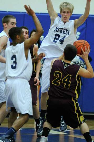 Berne Knox Westerlo's Kyle Gibbs handles the ball while being defended by  Mekeel Christian's Courtn