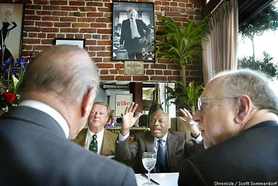 A portrait of Herb Caen hangs in Le Central restaurant on Bush Street where he and (from left) Matthew Kelly, Harry deWildt, Mayor Willie Brown and Wilkes Bashford met on Fridays for lunch and comraderie starting in 1974. The four recently recalled their friend and the good times they shared over a meal at their table. Chronicle photo by Scott Sommerdorf Photo: SCOTT SOMMERDORF