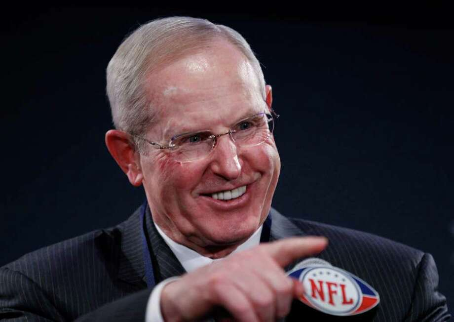 New York Giants head coach Tom Coughlin answers questions during a news conference, Monday, Jan. 30, 2012, in Indianapolis. The Giants will face the New England Patriots in the NFL football Super Bowl XLVI  on Feb. 5.(AP Photo/Eric Gay) Photo: Eric Gay