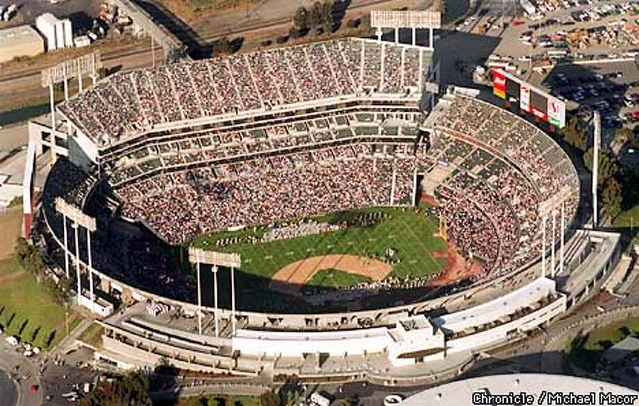 OAKCOLISEUM2/C/15AUG96/MN/MACOR The Oakland-Alameda County Coliseum. The Raiders open their exhibition season against the Baltimore Ravens at the coliseum. Chronicle Photo: Michael Macor