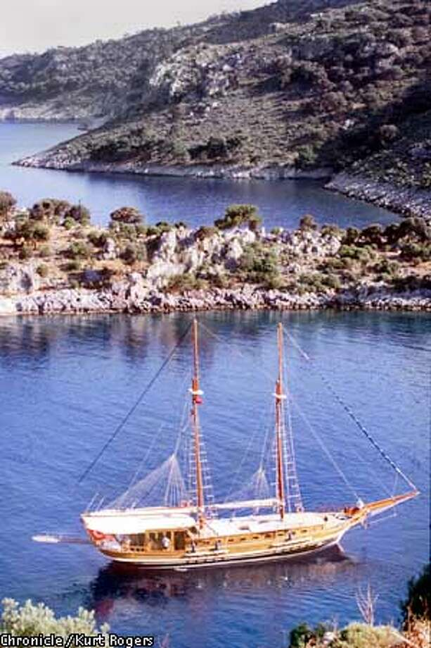 The 80-foot gulet, Surgun'd anchored in a cove along Turkey's Meditgerranean Coast. Credit: KURT ROGERS/SAN FRANCISCO CHRONICLE