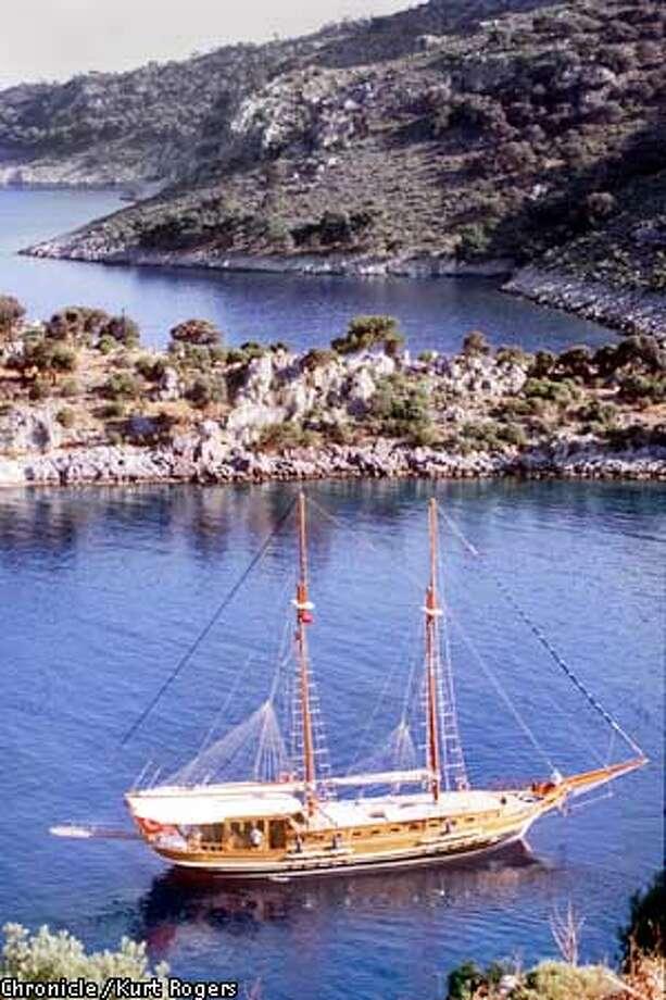 The 80-foot gulet, Surgun'd anchored in a cove along Turkey's Meditgerranean Coast. Credit: KURT ROGERS/SAN FRANCISCO CHRONICLE