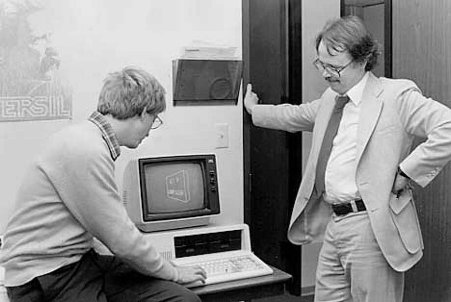 A photo of young David Bunnell and a even younger Bill Gates. Photo credit: Courtesy of David Bunnell.  (HANDOUT PHOTO) Photo: HANDOUT