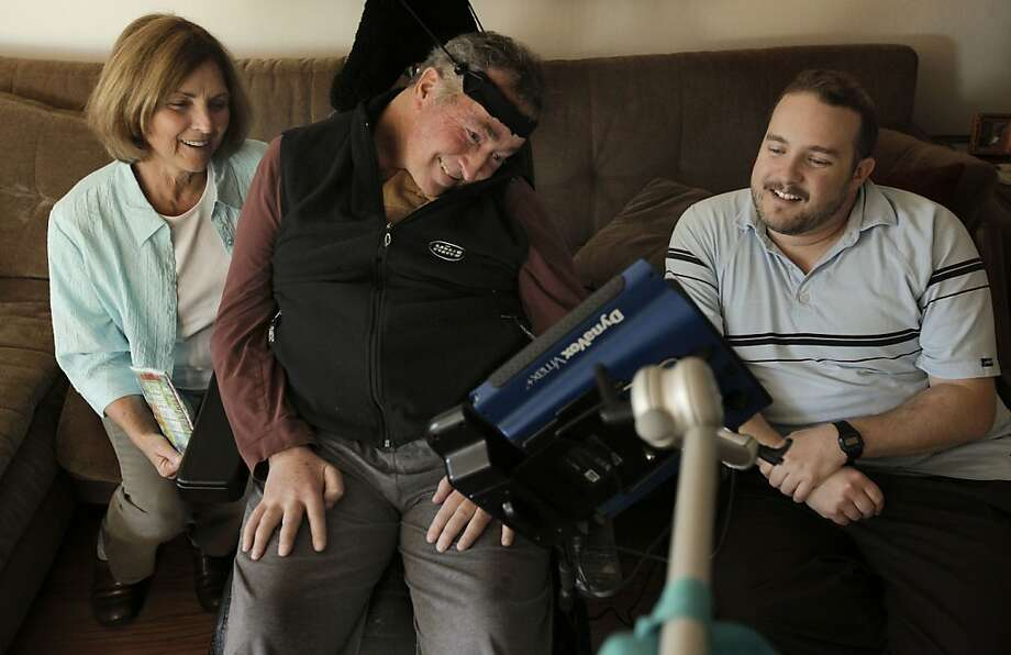 Paul Olney, (wife), Dr. Richard Olney, (center) and his medical-student son, Nick, share a laugh at their Corte Madera, Ca., home on Thursday Apr. 7, 2011. Dr. Richard Olney, a neurologist who founded a clinic for ALS patients at UCSF only to fall prey to the same disease he treated, is racing to finish what may be his last research paper. The study attempts to use early clinical tests to predict which ALS patients will last only a few months and which will last several years. Photo: Michael Macor, The Chronicle
